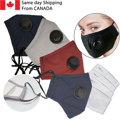 $ CDN6.99 • Buy Valve Mask With Filter Pocket/Reusable Washable Cotton Mask/2 Free PM2.5 Filters