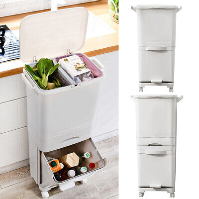 Recycling Bin Kitchen Waste Bin 2/3Compartments Storage For Sorting Food Caddy • 28.95£