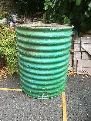 Large Old Antique Or Vintage Ribbed Metal Galvanised Tank Planter  - 3 Ft Tall • 95£