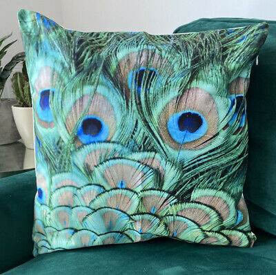 Green & Blue Peacock Feather TROPICAL PRINT  CUSHION COVER 45 X 45 Room Decor • 5.99£