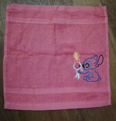 New Handmade Disney Stitch Embroidered Pink Face Cloth * Birthday Gift * • 5£
