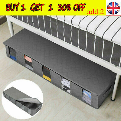 Large Capacity Under Bed Storage Bag Box 5 Compartments Clothes Organizer CZ • 7.55£