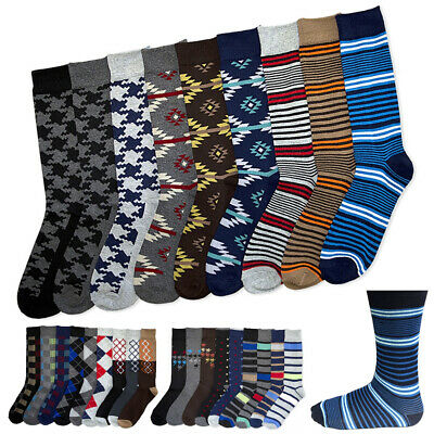 $10.48 • Buy 6 Pairs Men's Colorful Dress Socks Fun Funky Assorted Color Patterned Size 10-13
