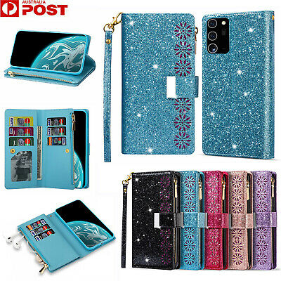 AU18.99 • Buy For Samsung S21 S20 FE Note20 Ultra S10 Plus Case Leather Wallet Glitter Cover