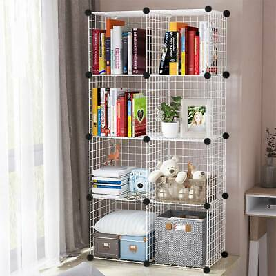 AU43.51 • Buy 8 Cube DIY Wire Grid Bookcase Storage Shelf Rack Open Organiser Closet Cabinet