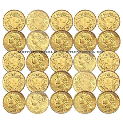 $10425.67 • Buy Lot Of 25 Pre-1933 Swiss HELVETIA 20 Franc Gold Coins BU Brilliant Uncirculated