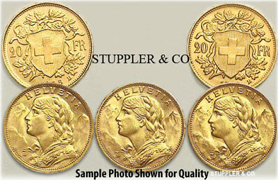 $2168.50 • Buy Lot Of 5 Pre-1933 Swiss HELVETIA 20 Franc Gold Coins BU Brilliant Uncirculated