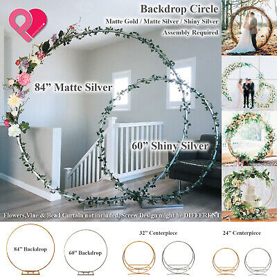 $54.99 • Buy Round Circle Wedding Arch Backdrop Gold Silver Wreath Hoop Centerpiece 24 -84