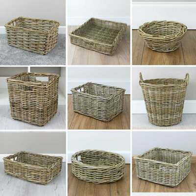 Grey & Buff Rattan Basket Collection Wicker Storage Log Floor Woven Gift Hamper • 31£