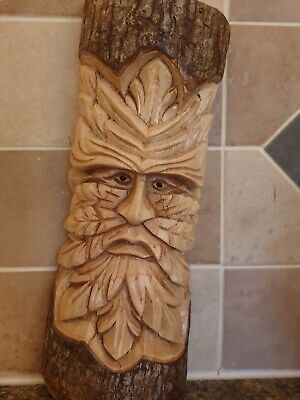 Wood Carving Greenman Wood Plaque 29 Inches Tall  • 16£