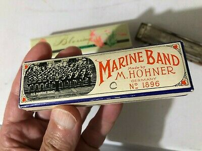 $38 • Buy Collection 3 Harmonica M. Hohner NO 1896 Marine Band Germany G C Key 1 Blessing