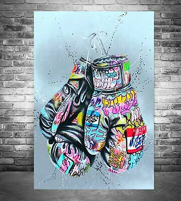 Boxing Gloves Graffiti Street Art Canvas Print Wall Picture Gallery Wood Frame • 14.99£