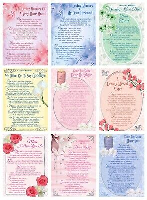 Graveside Memorial Cards With Verse ~ Mum, Dad, Wife, Husband Son, Daughter  • 1.99£