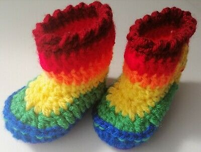 Hand Made Crochet Baby Rainbow Sunny Booties 2-5 Months  • 3.50£