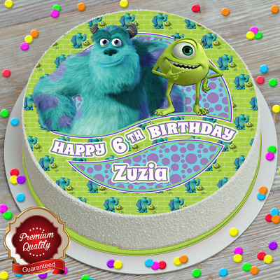 Monsters Inc Birthday Personalised Edible Icing Sheet 7.5 Inch Cake Topper 808 • 4.09£