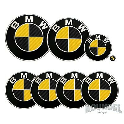 £7.99 • Buy For BMW Badge Gloss Carbon Fibre Black & Yellow All Models Decals Stickers Fiber