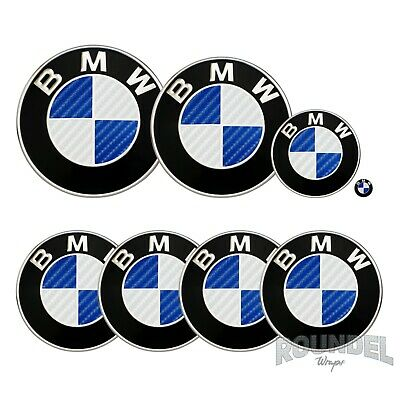 £7.99 • Buy For BMW Badges Gloss Carbon Fibre White & Navy Blue All Models Decals Sticker