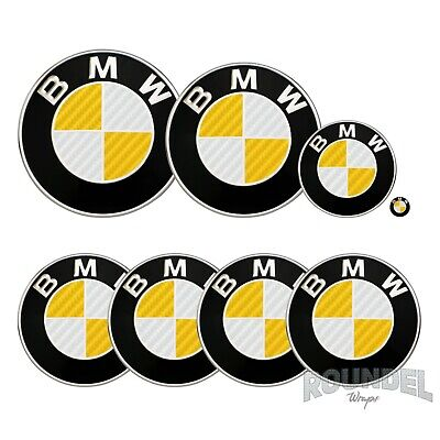 £7.99 • Buy For BMW Badge Gloss Carbon Fibre White & Yellow All Models Decals Stickers Fiber