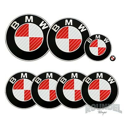 £7.99 • Buy For BMW Badge Gloss Carbon Fibre White & Red All Models Decals Stickers Fiber