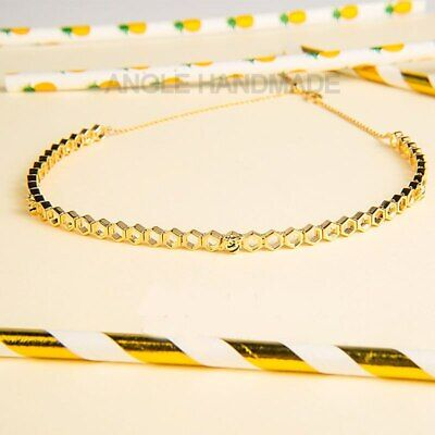 AU61.46 • Buy S925 Sterling Silver, Limited Edition Honeybee Choker, Shine Honey Bee Necklace