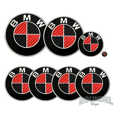 £7.99 • Buy For BMW Badge Gloss Carbon Fibre Black & Red All Models Decals Stickers Fiber