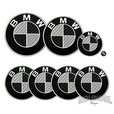 £7.99 • Buy For BMW Badge Gloss Carbon Fibre Black & Silver All Models Decals Stickers Fiber