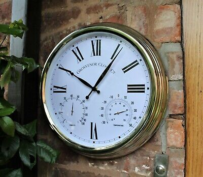 Garden Station Wall Clock Outdoor Metal Silver Effect Temperature & Humidity 15  • 18.50£