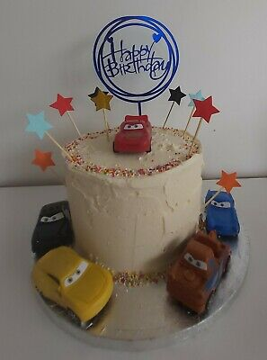 Cars Cake Topper With Stars And Happy Birthday Lightning McQueen DIY Cars Movie • 6.99£