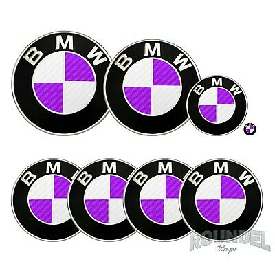 £7.99 • Buy For BMW Badge Satin Carbon Fibre White & Purple All Models Decals Stickers Fiber