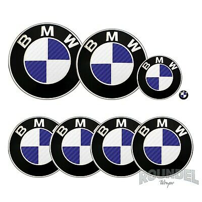 £7.99 • Buy For BMW Badge Satin Carbon Fibre White & Navy Blue All Models Decals Stickers