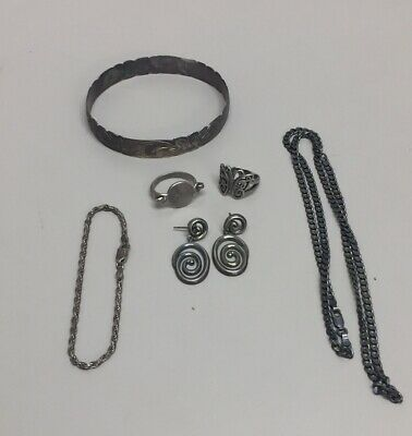$ CDN103.52 • Buy Mixed Lot Of Jewelry -  Sterling Silver- All Stamped 8 Pc Total 62 Grams