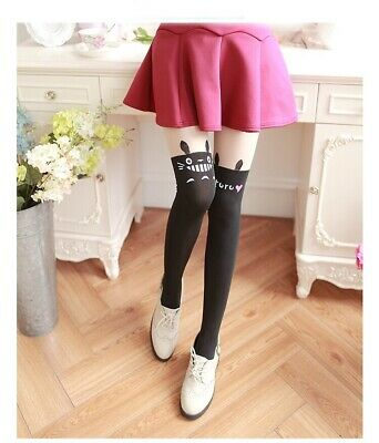 Japanese Anime My Neighbor Totoro Cat Black Cute Tights Cosplay Keep Warm • 6.99£