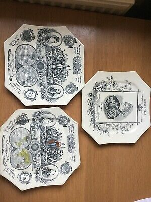 Vintage 3 X Queen Victoria Commemorative Jubilee Year Plate 1887 • 50£