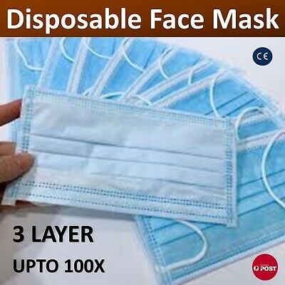 AU21.90 • Buy Face Mask 3 Layer Mouth Mask Filter Respirator Protective General Daily Upto100x