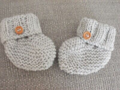 Baby's Hand Knitted Booties Newborn In Grey  • 1.95£