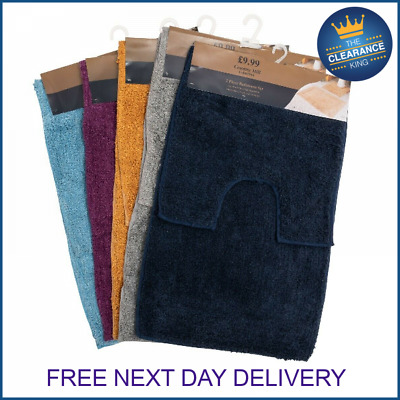 New 2 Piece Bath Mat And Pedestal Set Toilet Bathroom Rugs 100% Cotton Pile 2pc • 6.99£