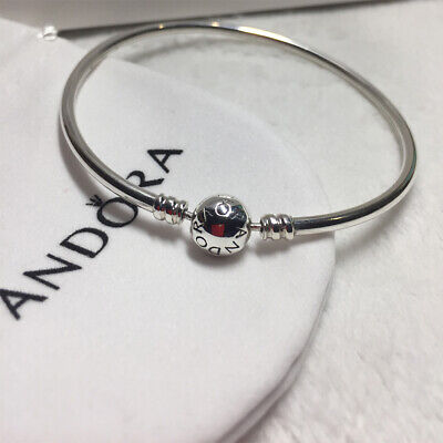 AU49.99 • Buy Authentic Pandora Sterling Silver Bangle Bracelet With Pink CZ In Pouch