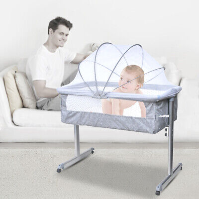 Side Sleeping Bedside Crib Baby Crib Cot Bed With Washable Mattress & Wheels • 59.99£