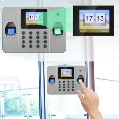 2.4in Smart Fingerprint Time Clock Office Employees Attendence Machine UK Plug • 52.95£