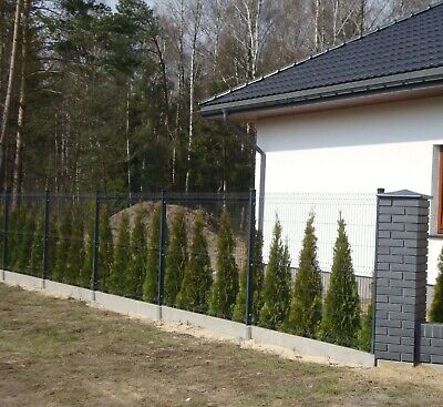 Fence Posts Panel Fencing 250cm X 100cm RAL 7016 Graphite Wire Mesh Galvanised • 400£
