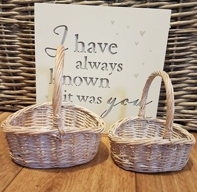 Wicker Childs Flower Girl Basket Bridesmaid Egg Collection Childs Girls White • 5.99£