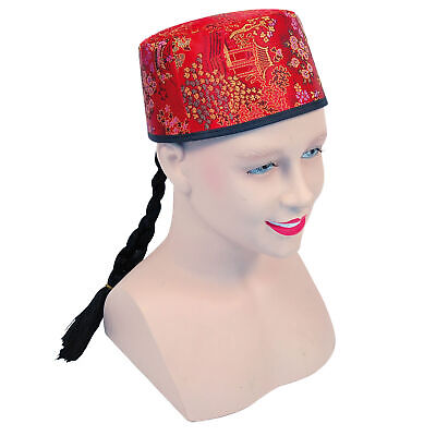 Adult Chinese Mandarin Hat & Plait - Mens Ladies Fancy Dress Costume Accessory • 6.99£