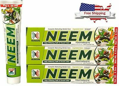 Neem Toothpaste 3 Pack Herbal Active Formula 100% Fluoride Free Bulk Lot • 10.69£