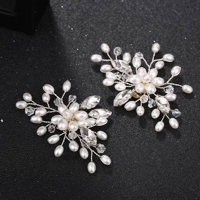 £4.37 • Buy 2 Pcs Pearl Crystal Shoe Clips Decoration Bridal Shoes Rhinestone Clip Buckle