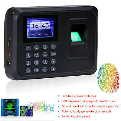 UK Time Recorder Clocking In Clock Machine Attendance Check Fingerprint+Password • 23.98£