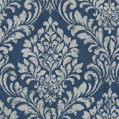 Muriva Darcy James Eleanor Damask Blue Wallpaper 173513 - Traditional Classic • 8.99£