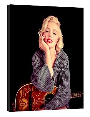 Marilyn Monroe Smoking With Her Guitar Picture Print On Framed  Canvas Wall Art  • 10.49£