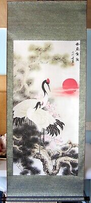 Large Hand Finished Chinese Cranes And Pine Tree Scroll Wall Hanging • 28£