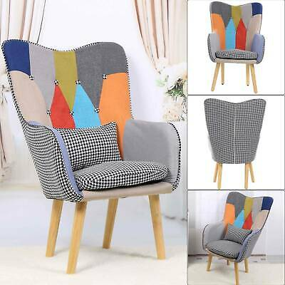 £165.99 • Buy Modern Armchair Multicoloured Patchwork Fabric Chair Wooden Legs Buttoned Back