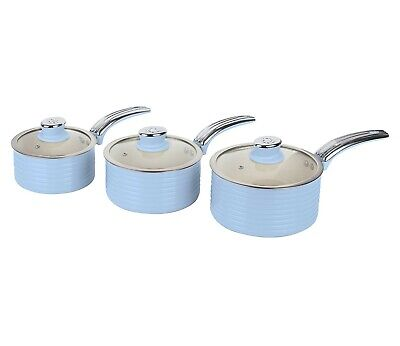 Swan SWPS3020BLN Retro 3 Piece Saucepan Set - Blue- Brand New • 46£